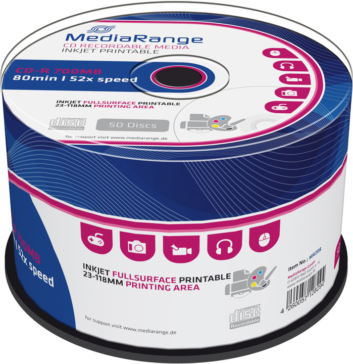 MediaRange CDR 52x 700MB Printable, Spindle, 50ks