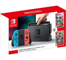 Nintendo Switch, červená/modrá + Splatoon 2 + Super Mario Odyssey NSH025