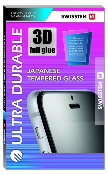 SWISSTEN ochranné sklo Ultra Durable pro iPhone Xr, lepení po celé ploše, černá