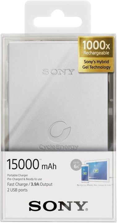 Sony CP-S15S přenosný zdroj USB, 15000mAh, stříbrná