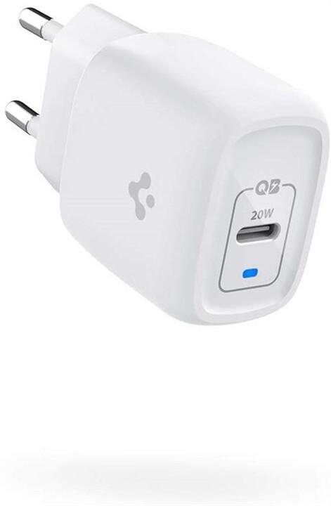 Spigen síťová nabíječka, USB-C, PD 3.0, 20W, bílá