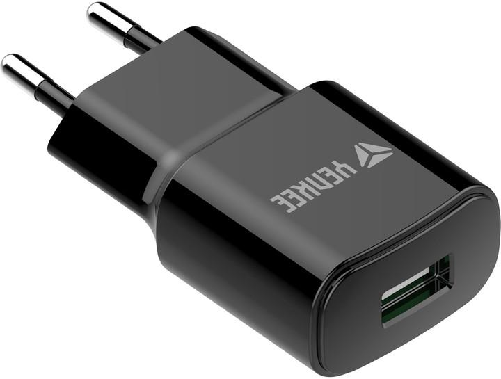 YENKEE YAC 2013BK USB nabíječka 2400mA, černá