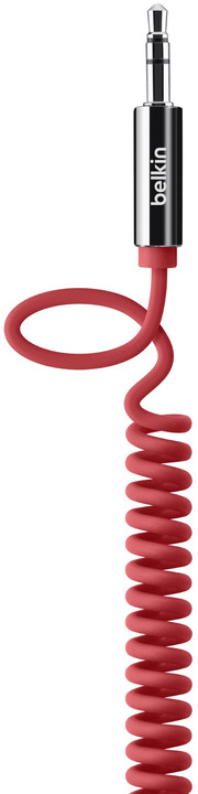 Belkin audio Jack 3,5mm M/M kroucený, 1.8m červená