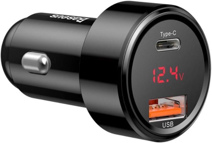 Baseus nabíječka do auta Magic series PPS, USB-C PD, USB-A, digitální display, 45W, černá