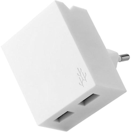 USBEPower LUCKY Hub charger 2USB phone stand, bílá