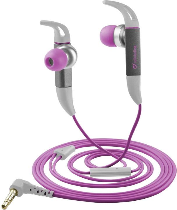 CellularLine Kite Sport sportovní sluchátka s mikrofonem, růžová
