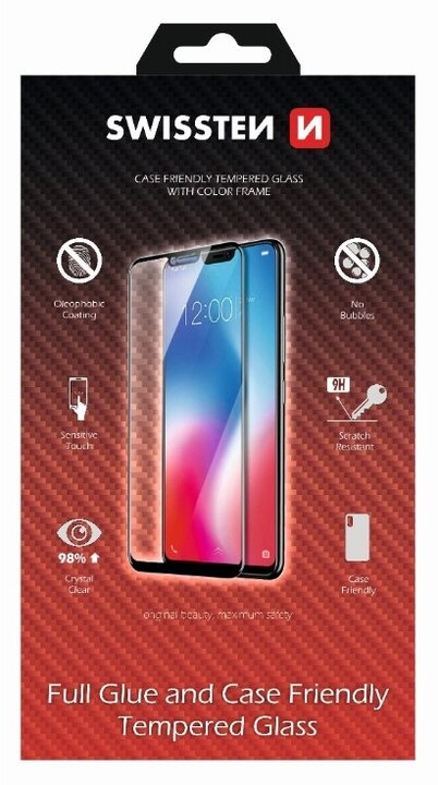 SWISSTEN ochranné sklo pro Apple iPhone 7/8, case friendly, černá
