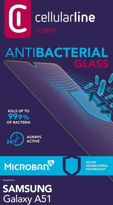 Cellularline ochranné tvrzené sklo pro Samsung Galaxy A51, antimikrobiální, černá