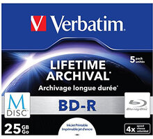 Verbatim BD-R, M-Disc, 4x, 25GB, printable, 5 ks, jewel - 43823