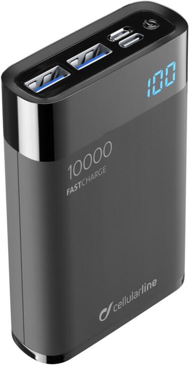 CellularLine FREEPOWER MANTA HD powerbanka 10000mAh, USB-C + 2x USB port, černá