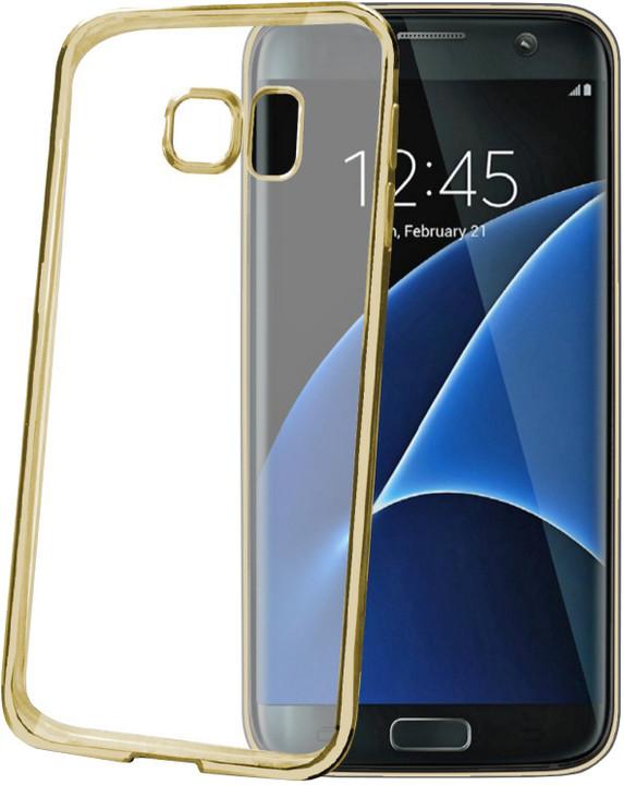 CELLY Laser - lemování s kovovým efektem TPU pouzdro pro Samsung Galaxy S7 Edge, zlatá