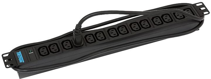 """Triton rozvodný panel RAB-PD-X09-A1, 19"""", 14x IEC, kontrol., 3x1,5mm, 2m kabel"""