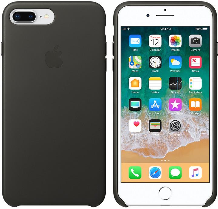 Apple kožený kryt na iPhone 8 Plus / 7 Plus, uhlově šedá