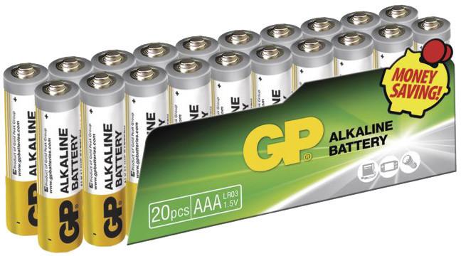 GP AAA, alkalická - 20 ks, fólie