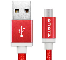 ADATA Micro USB kabel pletený, 1m, červený - AMUCAL-100CMK-CRD