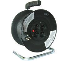 Prodlužovací kabel 230V 25m - 4x zásuvka, černý, na bubnu - PB01