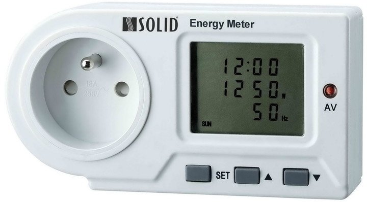Solight DT22 měřič spotřeby el. energie, LED indikace