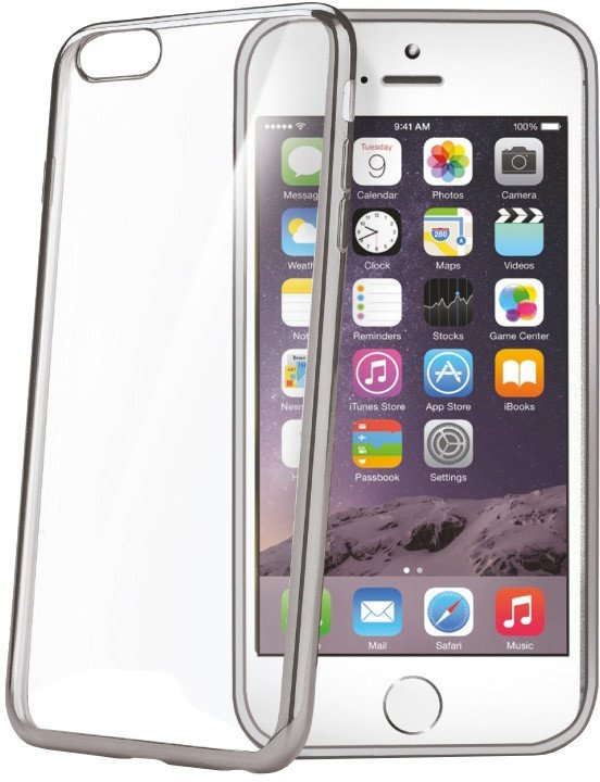 CELLY Laser - lemování s kovovým efektem TPU pouzdro pro Apple iPhone 6 Plus/6S Plus, stříbrná