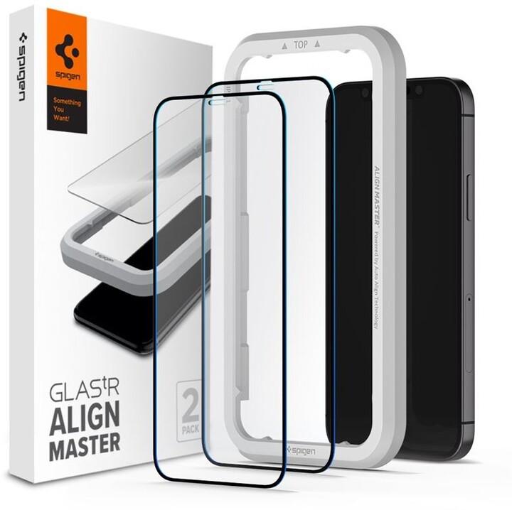 Spigen ochranné sklo tR ALM F pro iPhone 12/12 Pro, 2ks, černá