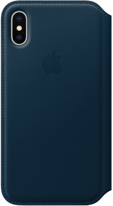 Apple kožené pouzdro Folio na iPhone X, vesmírně modrá