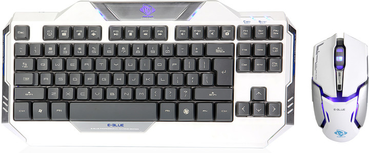 Set KB a myš E-Blue Auroza, bílý, US