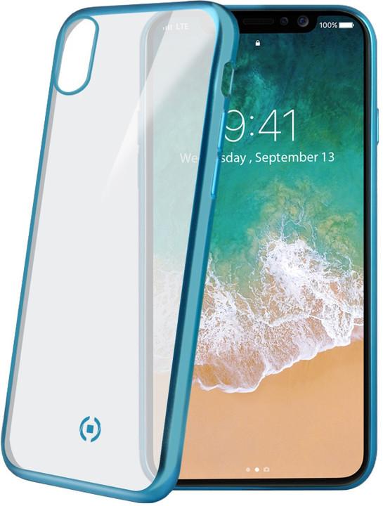 CELLY Laser TPU pouzdro - lemování s matným kovovým efektem pro iPhone X, světle modré