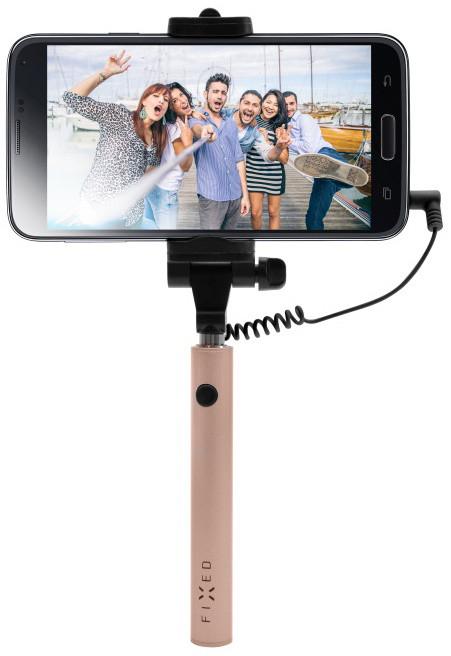 FIXED Snap Mini kompaktní selfie stick, spoušť přes 3,5 mm jack, růžovozlatý