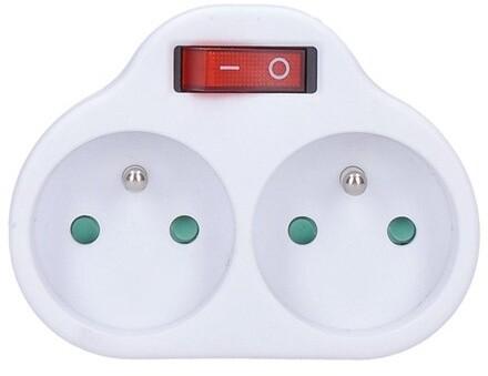 Solight rozbočka, 2x 10A, vypínač, bílá