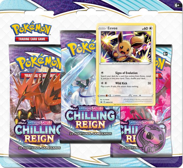 Karetní hra Pokémon TCG: Sword and Shield Chilling Reign - 3 Booster Pack Eevee