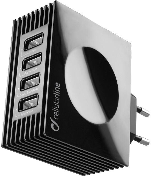 CellularLine nabíječka Quad Ultra 4xUSB, 21W/4.2 A max, černá