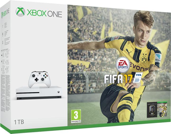XBOX ONE S, 1TB, bílá + FIFA 17