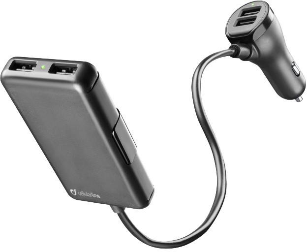 CellularLine autonabíječka s 4 x USB, 7.2 A, černá
