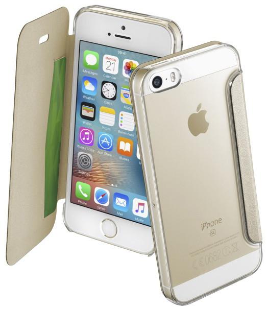 CellularLine Clear Book pouzdro typu kniha pro Apple iPhone 5/5S/SE, průhledné, zlaté
