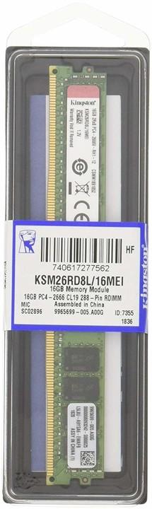 Kingston Server Premier 16GB DDR4 2666 ECC Reg, CL19, 2Rx8 VLP, Micron