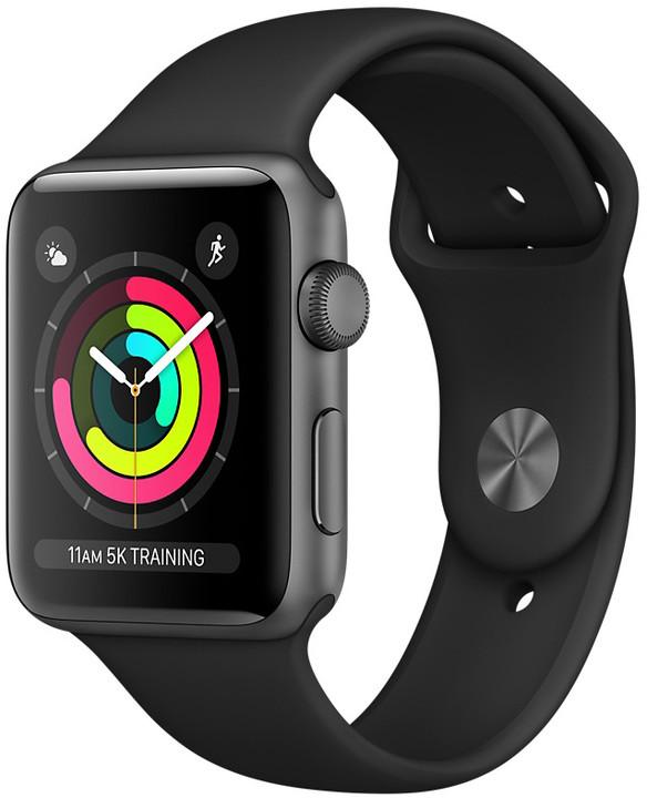 Apple Watch series 3 42mm pouzdro vesmírně šedá/černý řemínek