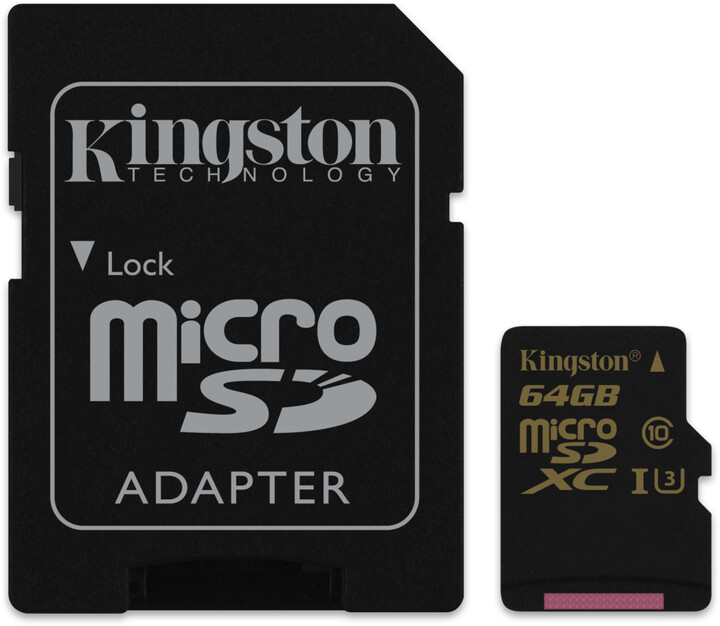 Kingston Micro SDXC 64GB UHS-I U3 + SD adaptér