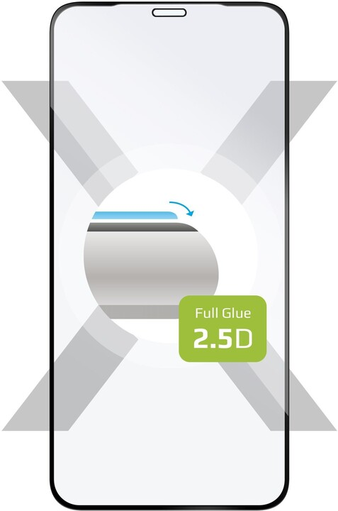 FIXED ochranné tvrzené sklo Full-Cover pro iPhone X/XS/11 Pro, lepení přes celý displej, černá