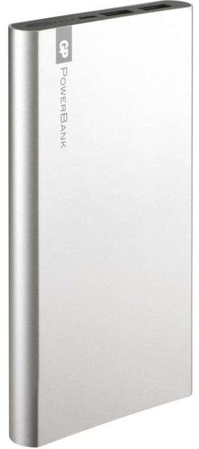 GP PowerBank FP10MS, záložní zdroj 10000 mAh, USB 2.1A + USB 1A, stříbrná