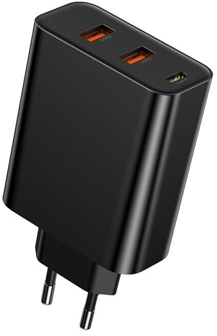 Baseus síťová nabíječka PPS s rychlonabíjením, USB-C, 2xUSB-A, 60W, černá