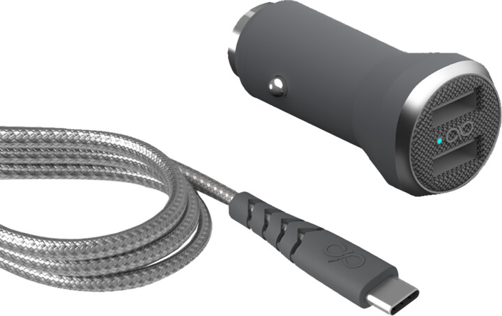 BigBen Force Power USB nabíječka do auta + kabel USB-C/USB-A, šedá