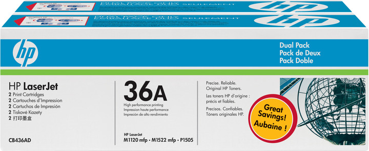 HP CB436AD, black, 2-pack
