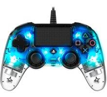 Nacon Wired Compact Controller, průhledný modrý (PS4)