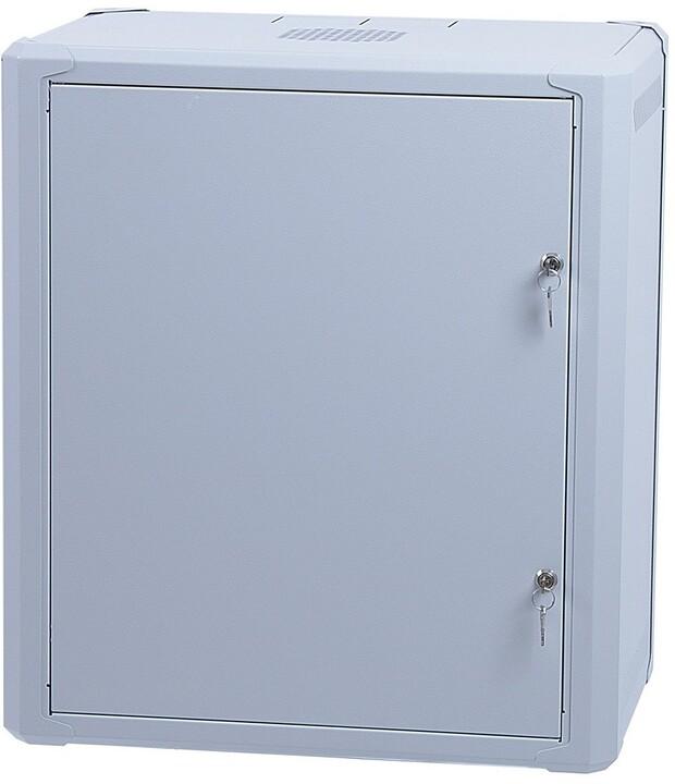 """Masterlan 19"""" nástěnný, 6U, 600x600mm, rozložený FLAT PACK, plechové dveře, zatížení 60kg, šedá"""