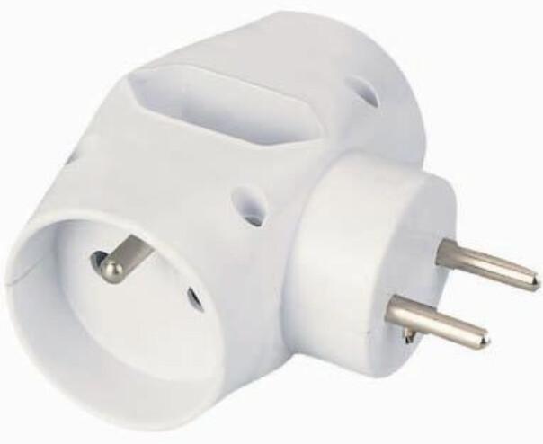 PremiumCord roztrojka 230V 10A, 2x kulatá +1x plochá zásuvka, bílá