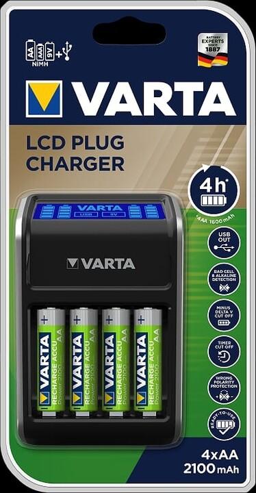 VARTA plug charger s LCD + 4ks AA 2100 mAh