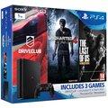 PlayStation 4 Slim, 1TB, černá + Uncharted 4 + DRIVECLUB + The Last of Us