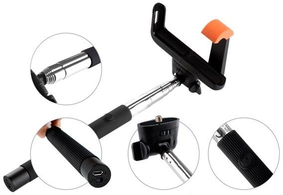 GoGEN 2 Selfie tyč teleskopická, bluetooth, černá