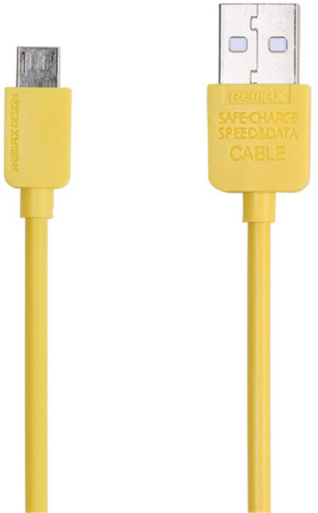 Remax USB datový kabel s microUSB konektorem, 1 m, žlutá