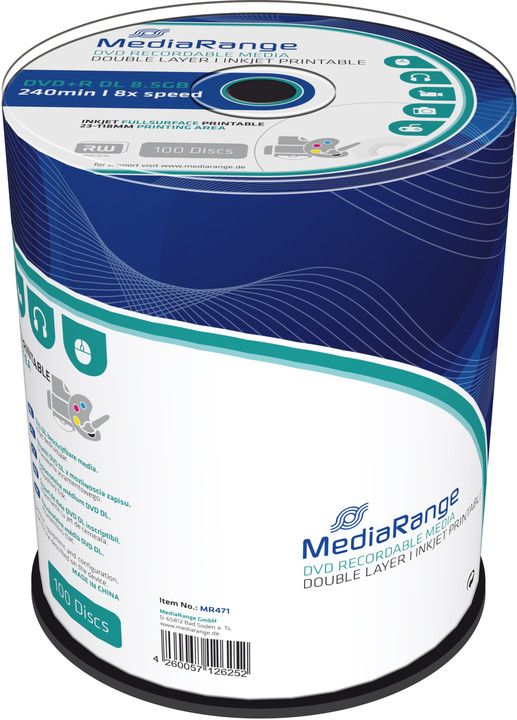 MediaRange DVD+R 8,5GB DL 8x, Printable, 100ks Spindle