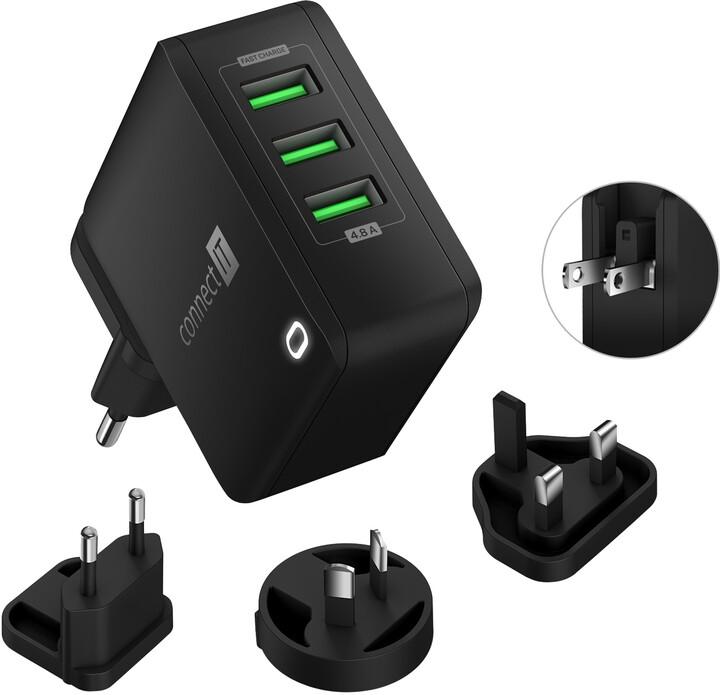 CONNECT IT nabíjecí adaptér Nomad2 WorldTravel, cestovní, 3xUSB, 24W, černá